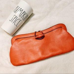 { Maxx New York } Orange Leather Clutch Wristlet